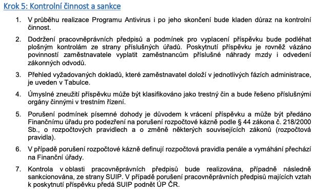 Výňatek z Manuálu: část Kontrolní činnost a sankce